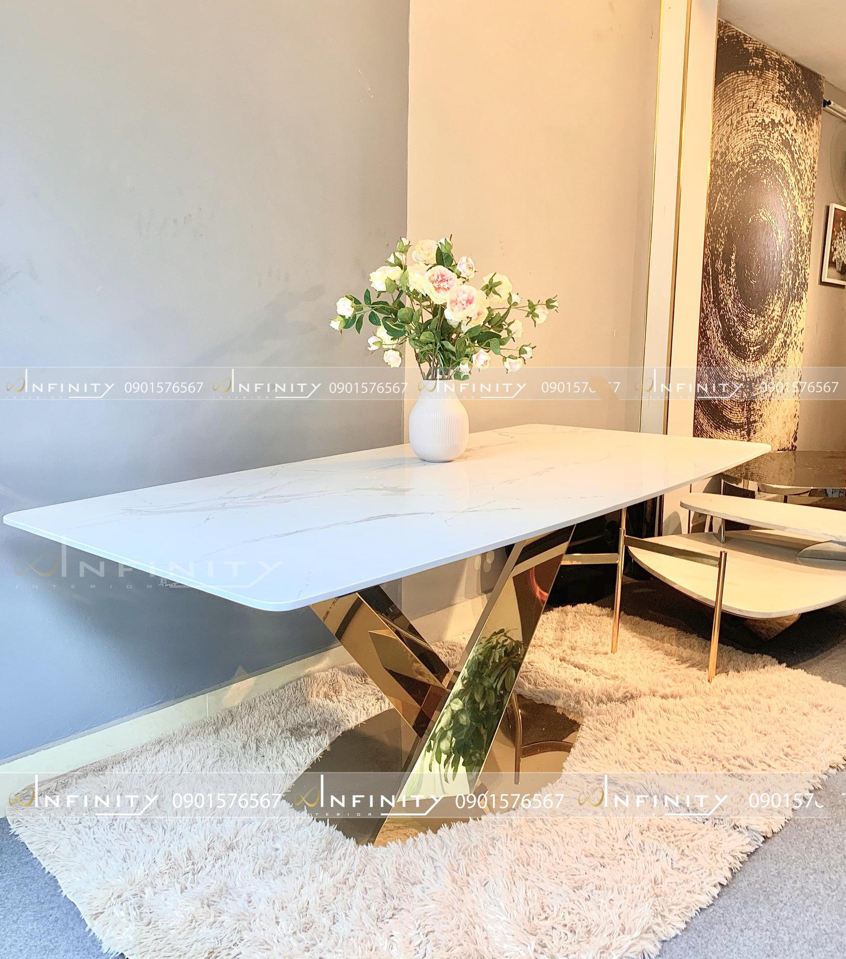ILUXURY Stratos TABLE (chân mạ PVD màu vàng)